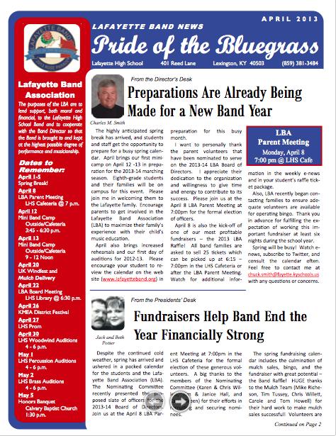 April 2013 Newsletter